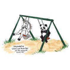 No.108 Unicorn and panda bear at the swing set / Illustration / Daily Doodle - Art Print  #dailydoodle #doodle #sketch #drawing #art #illustration #unicorn #panda #swinging #swingset #silly #mythical