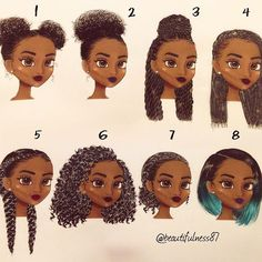 Did a hair study of some of my favorite hairstyles. I couldn't choose which one I liked the best but which one(s) do you all prefer? #illustration #naturalhair #protectivestyles #naturalista #curlygirl #naturalhairstyles #melanin #melaninpoppin #copicmarkers #kinkycurly