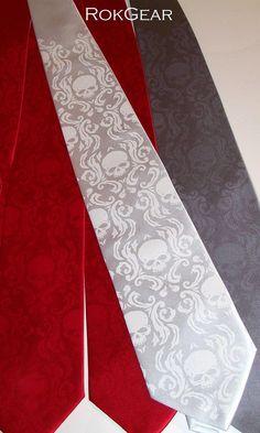 Mens elegant skull damask necktie White tie White ink by RokGear
