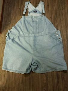 Fun find! Womens CST Blues Plus Size Denim Blue Jean Bib Shortalls Short Overalls Size 32W