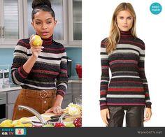 Zoey's striped turtleneck sweater on Black-ish. Outfit Details: https://wornontv.net/64198/ #Blackish