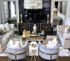 Glam Living Room, Elegant Living Room, Elegant Home Decor, Cheap Home Decor, Living Room Decor, Gold Home Decor, Modern Living, Bedroom Decor, Living Room Inspiration