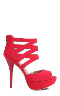 Peep Toe Platform Pump with Criss Cross Straps at Ankle