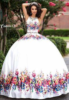 Camila Q Quinceanera Dress 17041 High Neck Floral Ballgown Open Back Princess - Camila Q Quinceanera Dress Source by glassslipperformals - Quince Dresses Mexican, Mexican Quinceanera Dresses, Quinceanera Party, Mariachi Quinceanera Dress, 15 Dresses, Pretty Dresses, Wedding Dresses, Moda Floral, Senior Prom