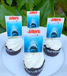 Shark Week Party - Jaws Cupcake toppers