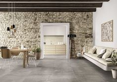 Looking for ideas for your living room tiles? Discover all tiles suitable for your living room and other areas. Small Sitting Rooms, Interior Styling, Interior Design, Room Tiles, Piece A Vivre, Living Room Flooring, Stone Houses, Classic House, Concrete Floors