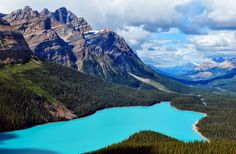The lake is in Banff National Park, Alberta, Canada ....