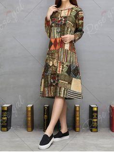 Tribal Print Twin Pockets A-Line Dress
