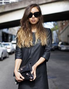 looking for inspiration on how to wear a leather dress. but i guess you just wear a leather dress. Fashion Moda, Fashion Week, Womens Fashion, Dress Fashion, Street Fashion, Fashion Fashion, Fashion Shoes, Purple Ombre, Ombre Color