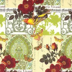 Made In Italy Authentic Florentine Paper Traditional Print Birds And Butterflies By Rossi