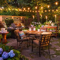 Stretch your time outdoors on a deck or patio, or add after-dark drama to your home's front entry with a mix of outdoor lights. Choose from garden lights and outdoor string lights in back or landscape lighting in front.