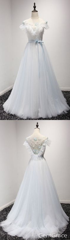 Dusty blue long tulle prom dress by #GemGrace