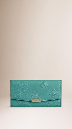 Aqua green Embossed Check Leather Continental Wallet - Image 1