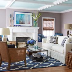 This nautical palette ships the soft glow of twilight on the sea to your home port. Accent ceiling architecture while using a medium neutral color on the walls. Blue-and-white is a classic color scheme that you can customize by varying the shades of blue and the patterns they appear in.