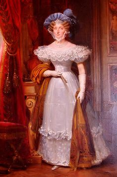 The Princess Maria Amalia of Naples & Sicily (1782-1866). She was a daughter of King Ferdinando IV & III (later Ferdinando I of the Two Sicilies) and his wife, The Archduchess Maria Carolina of Austria. She was The Duchess of Orléans (1809-1830) and Queen of the French (1830-1848) as the wife of King Louis Philippe I. Her children were The Princes Ferdinand Philippe, Louis Charles, François Ferdiand, Henri Eugène, and Antoine Marie, and the Princesses Louise, Christine, and Clémentine.