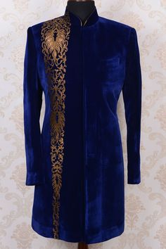 Indo Western Sherwani-Dark Blue-Applique Work-IW363