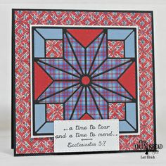 handmade quilt card ... reds and blues ... star quilt block die cuts ... luv the fabric print look of the papers she used ..