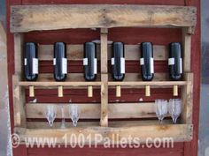 Here is another way of use for a discarded pallet. Holds 10 standard wine bottles or your favorite booze!    #Kitchen, #PalletCoatRacksHangers, #PalletShelves, #PalletWineRack, #RecyclingWoodPallets #PalletShelvesPalletCoatHangers Old Pallets, Recycled Pallets, Wooden Pallets, Pallet Benches, Pallet Couch, Pallet Tables, Pallet Boards, Outdoor Pallet, Recycled Wood