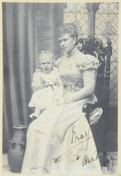 Princess Mary, the Duchess of York (Queen Mary) with Prince Albert (George VI) 1897