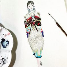 AW16 Illustration by @eina_mai Drawing Sketches, Drawings, Mary Katrantzou, Skateboard, Illustration, Cute, Instagram Posts, Painting, Collection