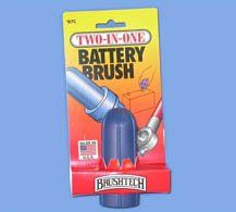 Two-In-One Battery Brush by Brushtech. $10.16. This brush is made in the usa, and has a strong, sturdy construction.. Both brushes are made with rust proof high tensile brass bristles, and will quickly and easily clean the terminals and battery cable clamps.. This brush easily gets in every groove and quickly removes sulfuric acid, rust and build up all around the terminals.. This two-in-one battery brush will not only make cleaning the terminals and cables on your battery e...