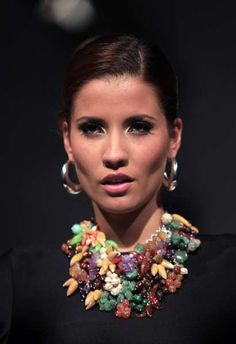 A model wears creations by Peru's Ilaria jewellery designers during the Peru Moda 2012 fashion week in Lima April 24, 2012.