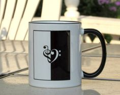 Mug Cup Treble G and Bass F Clef Heart Shaped Musician Gift