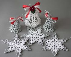 Crochet Christmas ornaments White silver by SevisMagicalStitches