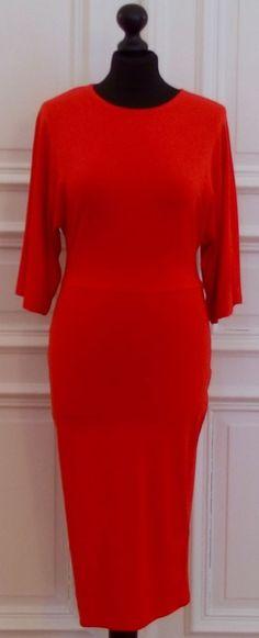 ASOS-Jersey-Stretch-Kleid, rot, Größe S/36, MIDI, wadenlang, figurbetont,