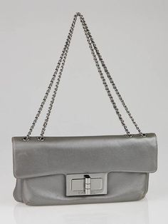 Chanel Dark Silver Leather Mademoiselle Flap Evening Bag
