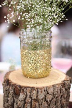 Bridal shower gold glitter mason jars rustic tree logs babies breathe pink outdoor stump
