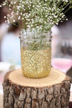 Bridal shower gold glitter mason jars rustic tree logs babies breathe pink outdoor stump