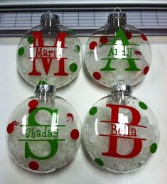 Learn how to create easy and fun Christmas décor ideas for apartments – clear ball ornaments! You can pick most of the supplies you need at your local dollar st Cricut Christmas Ideas, Christmas Vinyl, Christmas Ornament Crafts, Christmas Projects, Holiday Crafts, Christmas Bulbs, Christmas Crafts, Christmas Decorations, Decorating Ornaments
