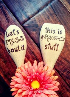 Taco bout it or Nacho stuff funny kitchen wooden spoon for taco tuesday wedding or housewarming gift Wooden Spoon Crafts, Wooden Spoons, Wood Crafts, Wood Burning Crafts, Wood Burning Art, Tao, Painted Spoons, Grey Bowls, Tacos And Tequila