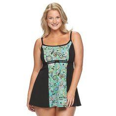 Plus Size A Shore Fit Hip Minimizer Print Swimdress