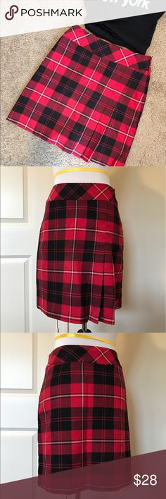 Vintage Plaid School Girl Skirt Excellent condition. Pleats on one side of skirt for a fashion-forward feel. Tailor B Moss Skirts Mini