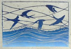 Jane Kendall. Swallows. Linoleum block print....wouldn't this be wonderful as a tiled border somewhere??