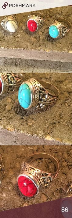 WOW!!! MENS RINGS Simulated stone rings. Sizes 9,10,11. White size 11. Turquoise sizes 9,10. . Red sizes 9,10,11. Accessories Jewelry