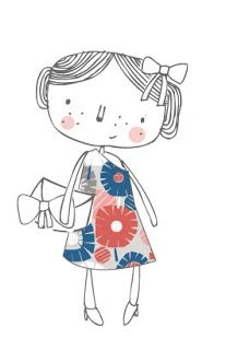 Nicola Pearson + illustration + ilustração + girl + hair bow + menina + laço no cabelo