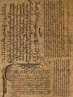 Burlap Digital Download Italian Calligraphy Script Writing Words Language Italy Digital Collage Sheet Transfer Pillows Totes Tea Towels 2717. $1.00, via Etsy.