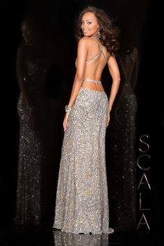 #SCALA Spring 2016 style 48474 SIlver! #scalausa #spring2016 #prom2016 #gown #promdress #eveningwear #dress #sequins #specialoccasion #prom2k16 www.scalausa.com