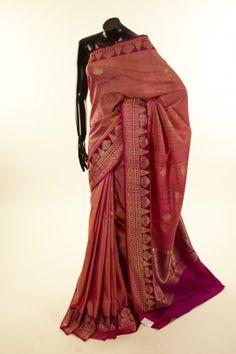 Banarsi- tussar lavender pink saree with blouse