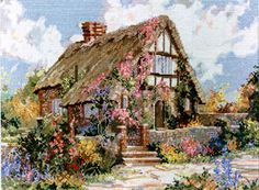 Marty Bell Wepham Cottage Completed Cross Stitch by OldSkoolKrafts Cottage In The Woods, Cozy Cottage, Bell Art, Clematis Vine, Cross Stitch Landscape, Cross Stitch Pictures, Vintage Marketplace, Cross Stitch Kits, Cross Stitching
