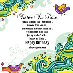 Free Original Birthday Cards For Sister In Law To Share Card Happy