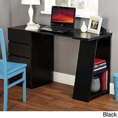Modern Writing Computer Desk Blend Modern Design and Function Includes Shelves and Drawers for Storage Perfect Office Dorm Room or Appartment Furniture Black * For more information, visit image link.Note:It is affiliate link to Amazon. #igaddict