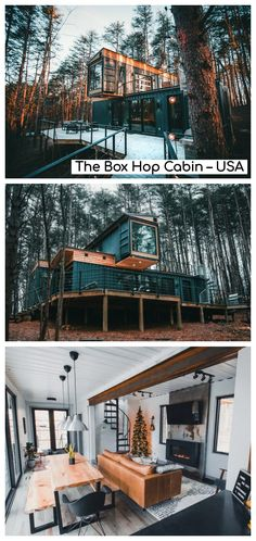 The Box Hop is a sustainable living space that's comprised entirely of intermodal containers, providing a spacious three-bedroom, two-bathroom escape with a focus on modern design principles. Storage Container Homes, Container House Plans, Container House Design, Container Houses, Shipping Container Cabin, Shipping Container Home Designs, Cabin Interior Design, Cabin Design, Teak