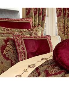 Maribella Crimson Comforter Collection by J Queen New York Maribella is a large woven chenille damask in rich tones of red and taupe combined with hues of gold. The oversized comforter is embellished with solid red velvet piping. Pipe Decor, Luxury Bedroom Design, Queens New York, Queen News, Space Furniture, Traditional Decor, Luxury Bedding, Red Bedding, Luxurious Bedrooms