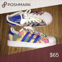 Adidas superstars Floral lightly worn adidas Shoes Athletic Shoes