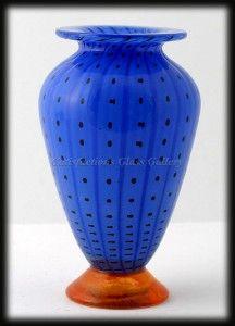 transjo hytta glass   Blue Transjö Hytta Swedish Art Glass Vase Black Polka Dots Orange