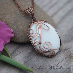 "Buy Pendant with agate ""Alexander"" - white, pendant with stone"